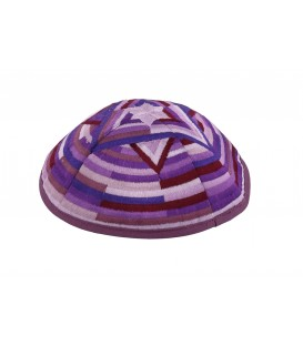 Kippah - Embroidered- Large Magen David --Purple
