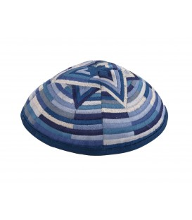 Kippah - Embroidered- Large Magen David --Blue