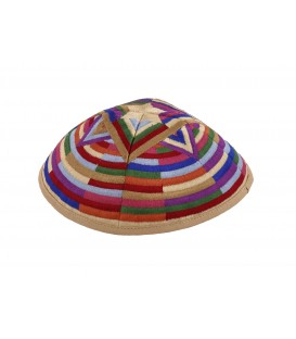 Kippah - Embroidered- Large Magen David --Multicolor