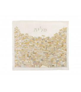 Tallit Bag - Full Embroidery - Jerusalem Silver + Gold