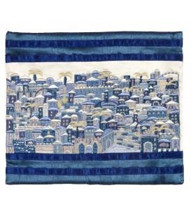 Tallit Bag - Full Embroidery - Jerusalem - Blue