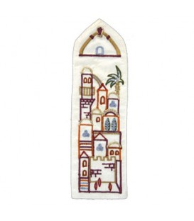 Bookmark - Embroidered - Jerusalem White