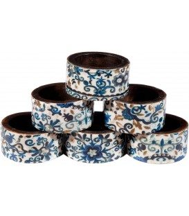 Printed 6 Wooden Napkin Rings - Blue Pomegranates