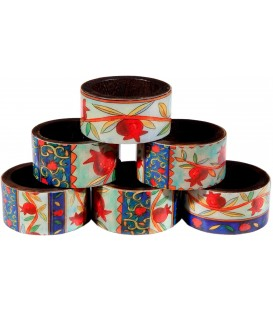 Printed 6 Wooden Napkin Rings - Pomegranates