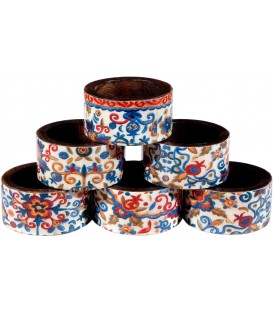 Printed 6 Wooden Napkin Rings - Multicolor Pomegranates