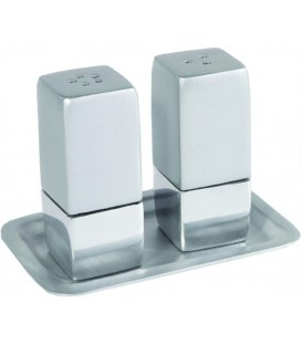 Salt & Pepper Shakers + Tray - Metal - Matt & Shiny