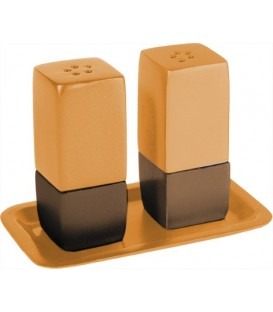 Salt & Pepper Shakers + Tray - Metal - Brown