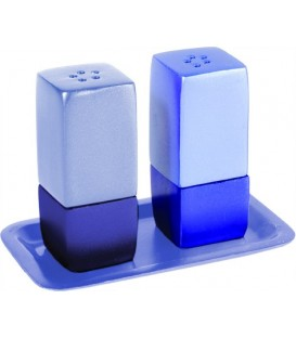 Salt & Pepper Shakers + Tray - Metal - Blue