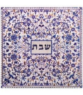 "Wooden Trivet - ""Shabbat"" Blue Embroidery"