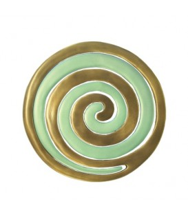 Aluminium Trivet - Painted -  Two Pieces - Spiral Gold + Green