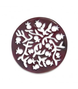 Aluminium Trivet - Painted - Pomegranates - Red