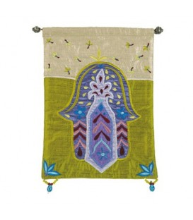 Small Wall Hanging - Hamsa + Flowers - Blue