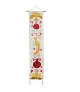 Long Wall Hanging - Bird + Pomegrantes - Gold
