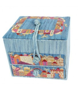 Embroidered Jewelry Box + Two Drawers - Jerusalem Blue