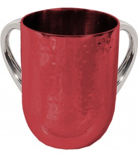 Netilat Yadayim Cup - Hammer Work - Maroon