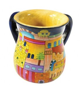 Small Netilat Yadayim Cup - Hand Painted on Wood - Jerusalem