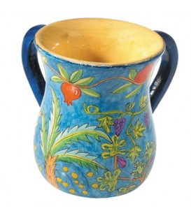 Small Netilat Yadayim Cup - Hand Painted on Wood - Seven Species