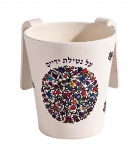 Netilat Yadayim Cup - Bamboo - Flowers Round