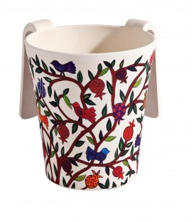 Netilat Yadayim Cup - Bamboo - Pomegranate Tree + Birds