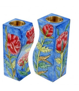 Fitted Candlesticks - Red Flowers