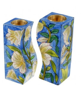 Fitted Candlesticks - White Flowers
