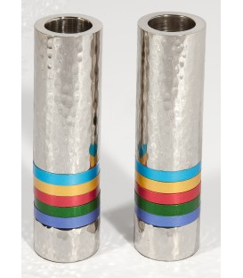Cylinder Candlesticks - Hammer Work + Rings - Multicolor