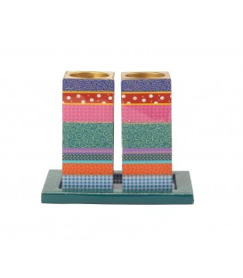 Candlesticks - Printed Wood - Multicolor