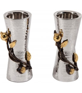 Small Candlesticks - Stainless Steel + Pomegranates