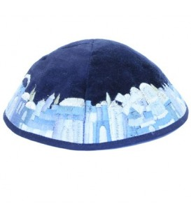 Kippah - Velvet + Embroidered - Blue