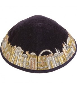 Kippah - Velvet + Embroidered - Gold