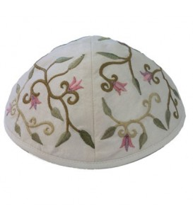 Kippah - Embroidered - Flowers - White
