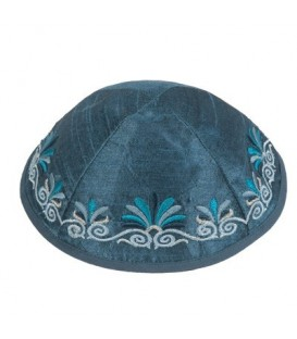 Kippah - Embroidered - Wave - Blue