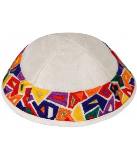 "Kippah - Embroidered - Geometry ""Joseph's Coat"" Multicolor"