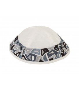 Kippah - Embroidered - Geometry Black + Gray
