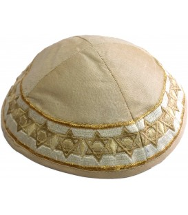 Kippah - Embroidered - Magen David - Gold