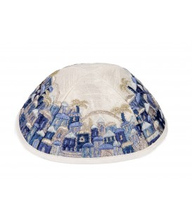 Kippah - Embroidered - Full Jerusalem- Blue