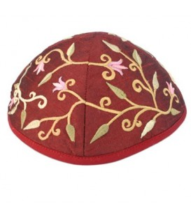 Kippah - Embroidered - Flowers - Maroon