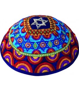 Kippah - Embroidered - Magen David - Multicolor