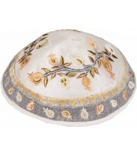Kippah - Embroidered - Pomegranates - Silver + Gold