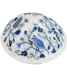 Kippah - Embroidered - Birds - Blue