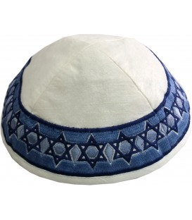 Kippah - Embroidered - Magen David - Blue+White