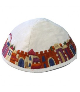 Kippah - Embroidered - Jerusalem - White