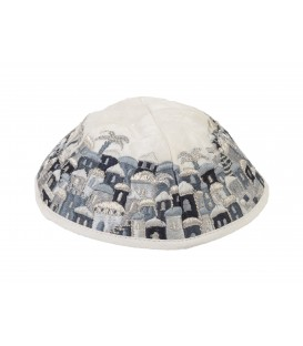 Kippah - Embroidered - Full Jerusalem - Black + Gray