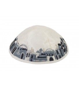 Kippah - Embroidered - Jerusalem - Black + Gray