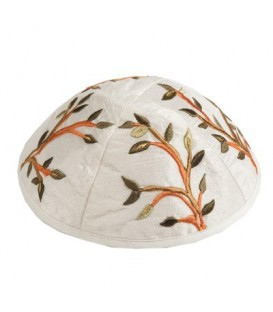 Kippah - Embroidered - Tree of Life - Brown