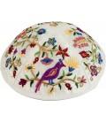 Kippah - Embroidered - Birds - Multicolor