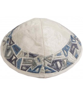 Kippah - Embroidered - Geometry Gray