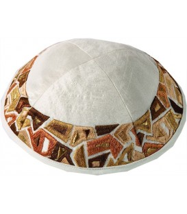 Kippah - Embroidered - Geometry Gold