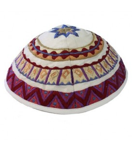Kippah - Embroidered - Abstract - Multicolor