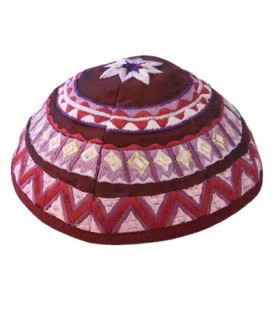 Kippah - Embroidered - Abstract - Maroon